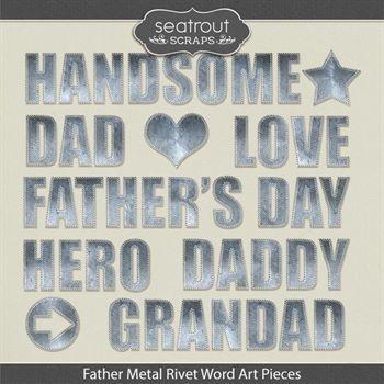 Father Metal Rivet Word Art Pieces Digital Art - Digital Scrapbooking Kits