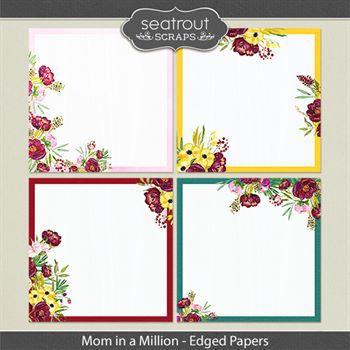 Mom In A Million Edged Papers Digital Art - Digital Scrapbooking Kits