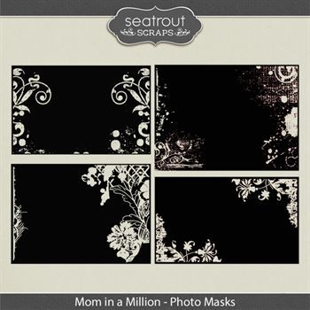 Mom In A Million Photo Masks Digital Art - Digital Scrapbooking Kits