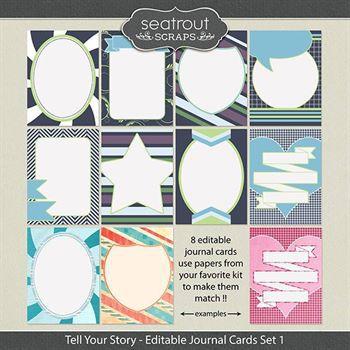 Tell Your Story Journal Cards Set 1 Digital Art - Digital Scrapbooking Kits