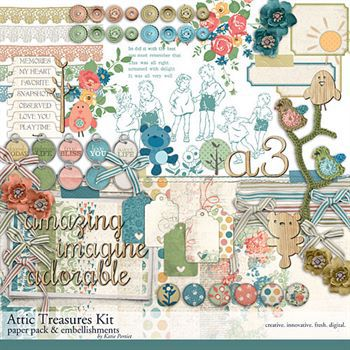 Attic Treasures Scrapbooking Kit Digital Art - Digital Scrapbooking Kits