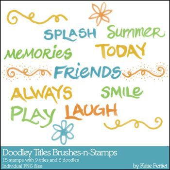 Doodley Titles Brushes And Stamps Digital Art - Digital Scrapbooking Kits