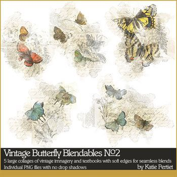 Vintage Butterfly Blendables No. 02 Digital Art - Digital Scrapbooking Kits