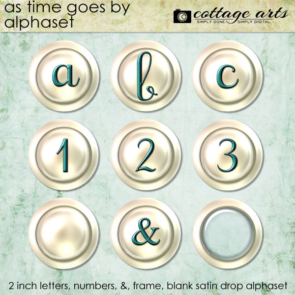 As Time Goes By Alphaset Digital Art - Digital Scrapbooking Kits