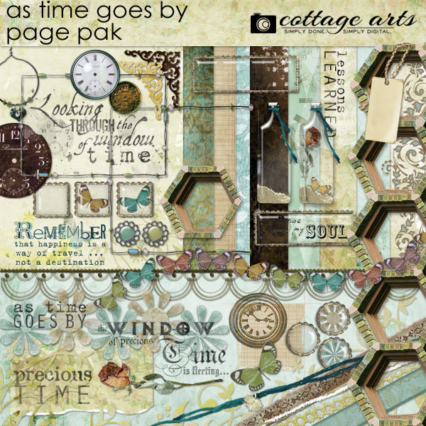 As Time Goes By Page Pak Digital Art - Digital Scrapbooking Kits