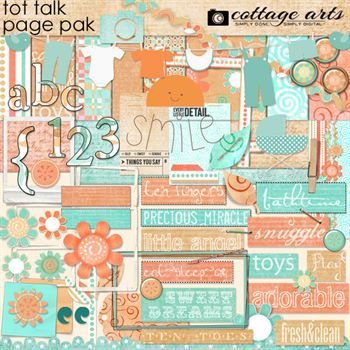 Tot Talk Page Pak with Alphaset Digital Art - Digital Scrapbooking Kits