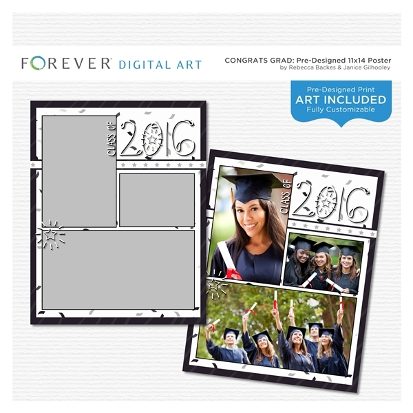 Congrats Grad Pre-designed 11x14 Poster Digital Art - Digital Scrapbooking Kits