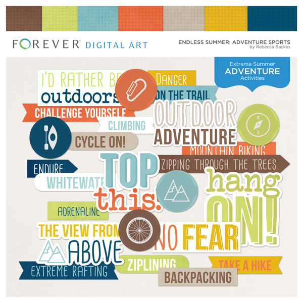 Endless Summer Adventure Sports Digital Art - Digital Scrapbooking Kits