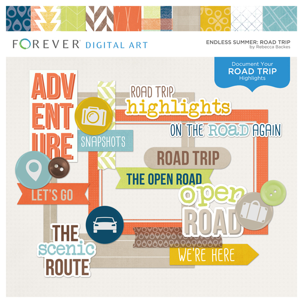 Endless Summer Road Trip Digital Art - Digital Scrapbooking Kits