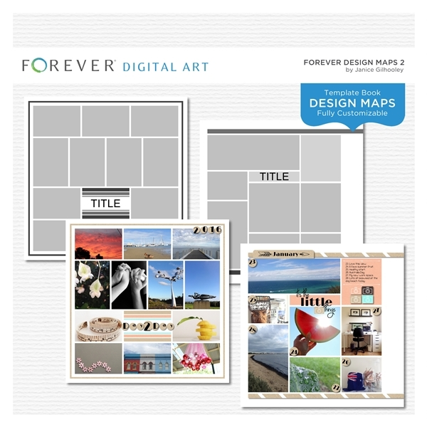 Forever Design Maps 2 Digital Art - Digital Scrapbooking Kits