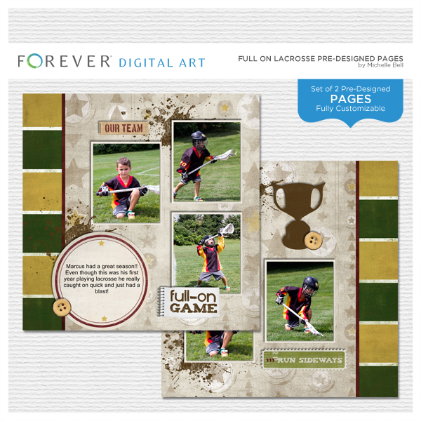 Full On Lacrosse Pre-designed Pages Digital Art - Digital Scrapbooking Kits
