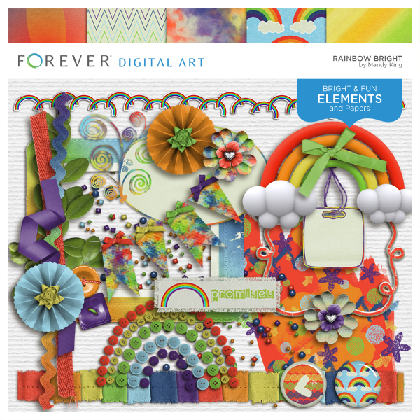 Rainbow Bright Digital Art - Digital Scrapbooking Kits