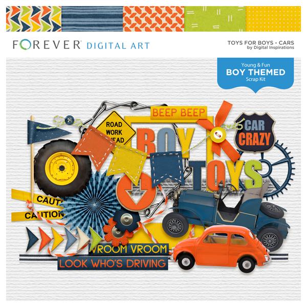 Toys For Boys Cars Digital Art - Digital Scrapbooking Kits