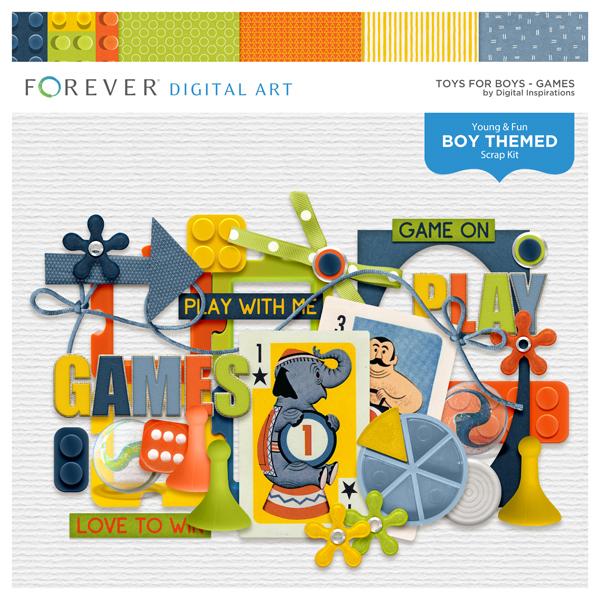 Toys For Boys Games Digital Art - Digital Scrapbooking Kits