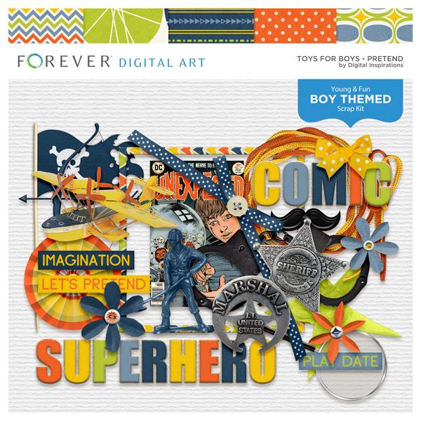 Toys For Boys Pretend Digital Art - Digital Scrapbooking Kits