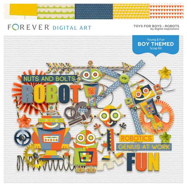 Toys For Boys Robots Digital Art - Digital Scrapbooking Kits
