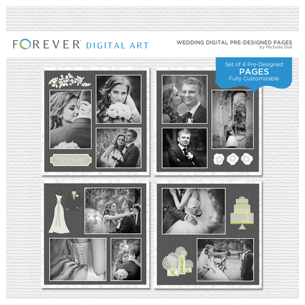 Wedding Digital Pre-designed Pages Digital Art - Digital Scrapbooking Kits
