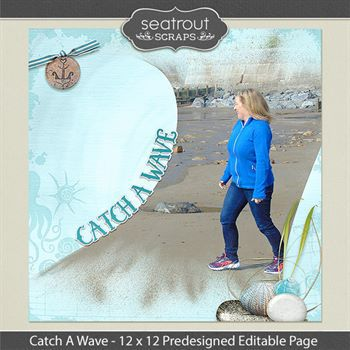 12 X 12 Catch A Wave Predesigned Editable Page Digital Art - Digital Scrapbooking Kits