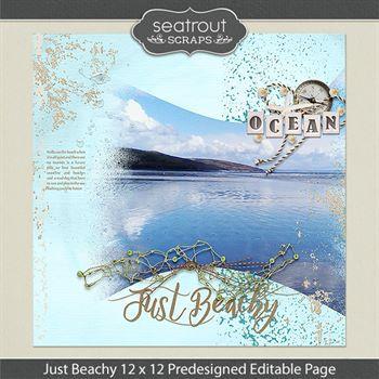 12 X 12 Just Beachy Predesigned Editable Page Digital Art - Digital Scrapbooking Kits