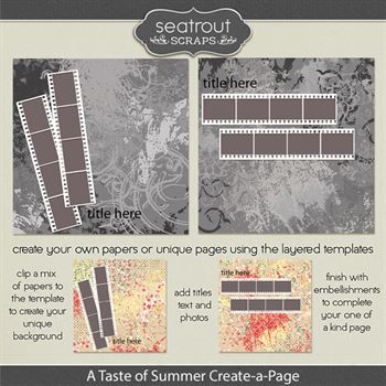 A Taste Of Summer Create-a-page Templates Digital Art - Digital Scrapbooking Kits