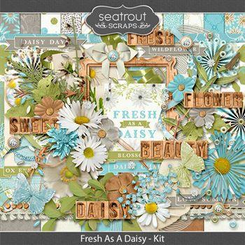 Fresh As A Daisy Kit Digital Art - Digital Scrapbooking Kits