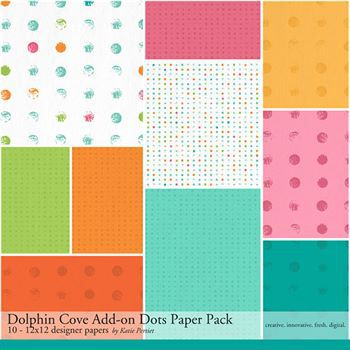 Dolphin Cove Add-on Dots Paper Pack Digital Art - Digital Scrapbooking Kits