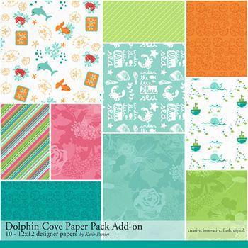 Dolphin Cove Add-on Paper Pack Digital Art - Digital Scrapbooking Kits