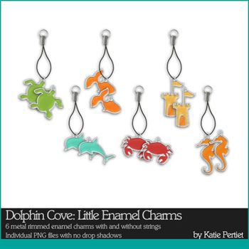 Dolphin Cove Little Enamel Charms Digital Art - Digital Scrapbooking Kits