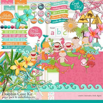 Dolphin Cove Scrapbooking Kit Digital Art - Digital Scrapbooking Kits