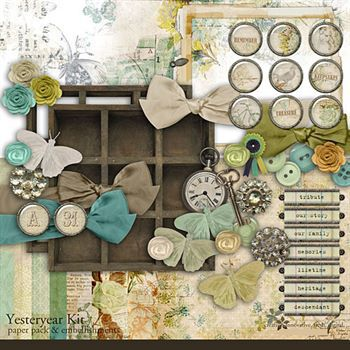 Yesteryear Kit Digital Art - Digital Scrapbooking Kits