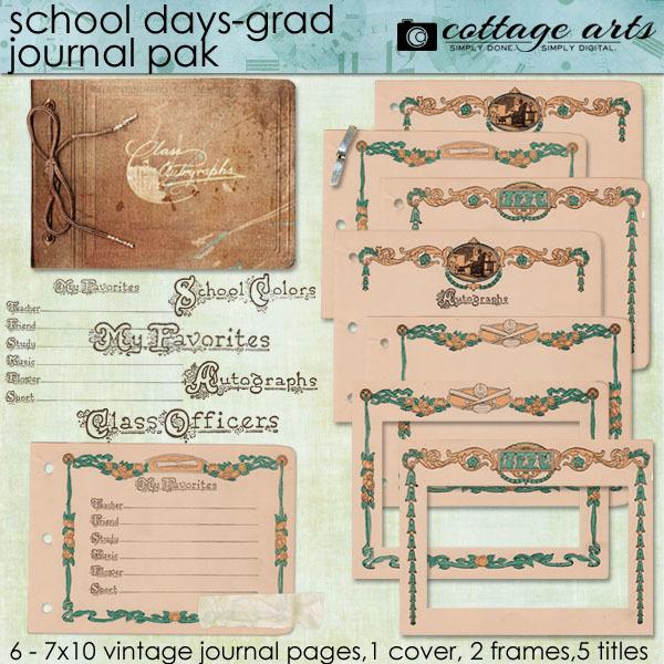 School Days - Grad Journal Pak Digital Art - Digital Scrapbooking Kits