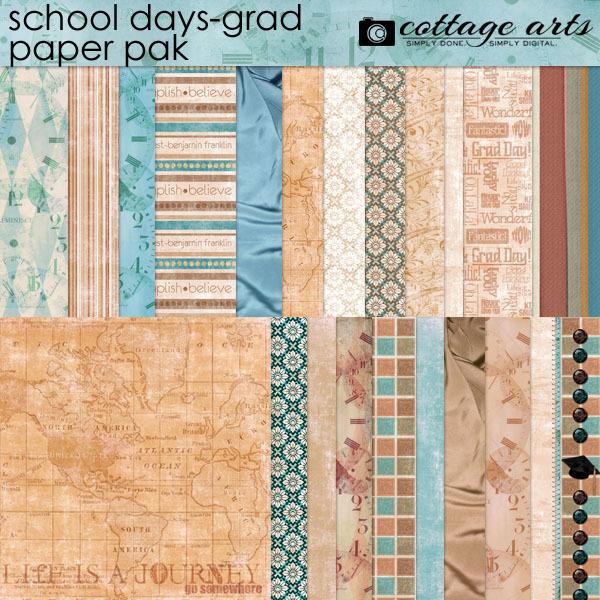 School Days - Grad Paper Pak Digital Art - Digital Scrapbooking Kits
