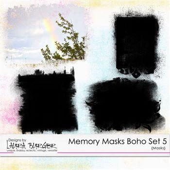 Memory Masks Boho Set 5 Digital Art - Digital Scrapbooking Kits
