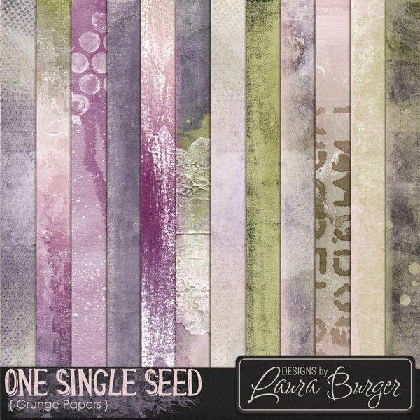 One Single Seed Grunge Papers Digital Art - Digital Scrapbooking Kits