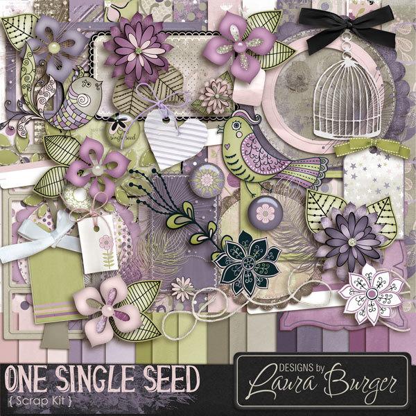 One Single Seed Scrap Kit Digital Art - Digital Scrapbooking Kits
