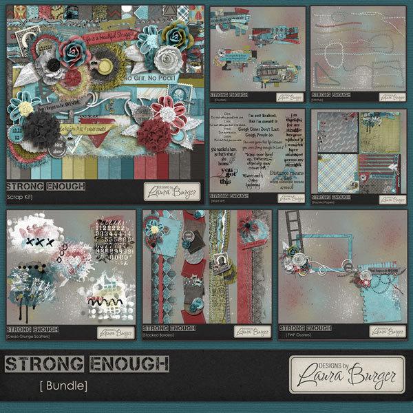 Strong Enough Bundle - Fwp Clusters Digital Art - Digital Scrapbooking Kits
