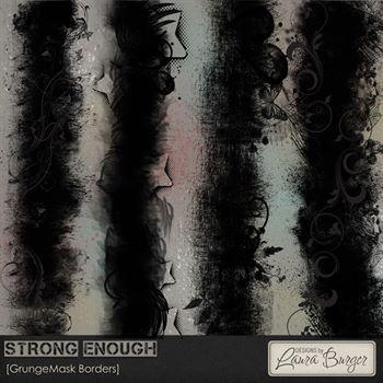 Strong Enough Masks Borders Digital Art - Digital Scrapbooking Kits
