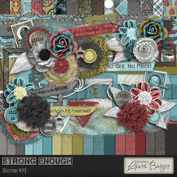 Strong Enough Scrap Kit Digital Art - Digital Scrapbooking Kits