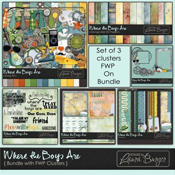 Where The Boys Are Bundled Collection Fwp Clusters Digital Art - Digital Scrapbooking Kits