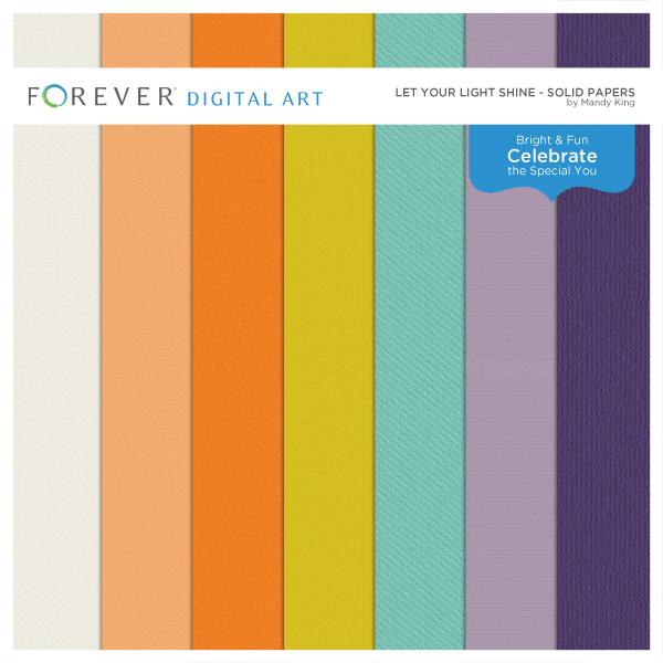 Let Your Light Shine Solid Papers Digital Art - Digital Scrapbooking Kits
