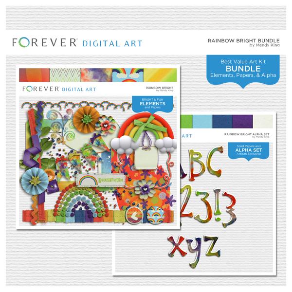 Rainbow Bright Bundle Digital Art - Digital Scrapbooking Kits