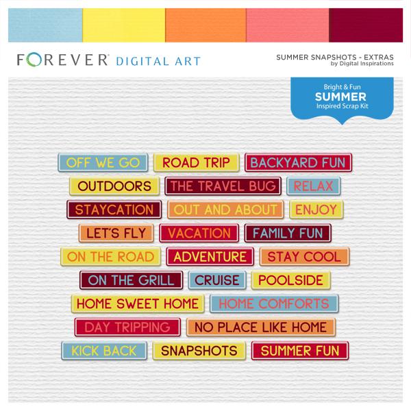 Summer Snapshots Extras Digital Art - Digital Scrapbooking Kits