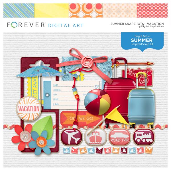 Summer Snapshots Vacation Digital Art - Digital Scrapbooking Kits