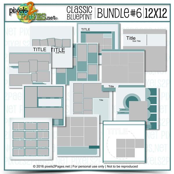12x12 Classic Blueprint Bundle #6 Digital Art - Digital Scrapbooking Kits