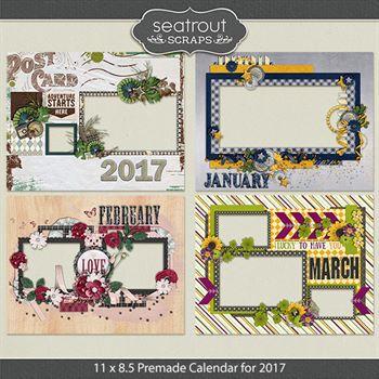 11 X 8.5 Premade Calendar For 2017 Digital Art - Digital Scrapbooking Kits