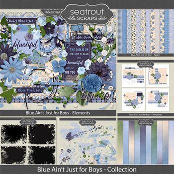 Blue Ain't Just For Boys Bundled Collection Digital Art - Digital Scrapbooking Kits
