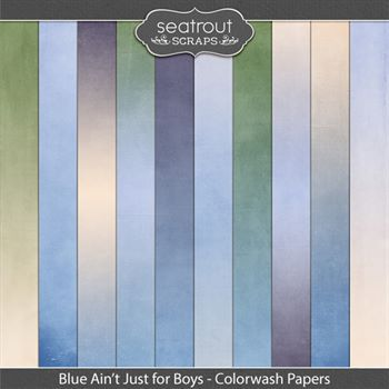 Blue Ain't Just For Boys Colorwash Papers Digital Art - Digital Scrapbooking Kits