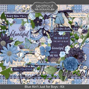 Blue Ain't Just For Boys Kit Digital Art - Digital Scrapbooking Kits