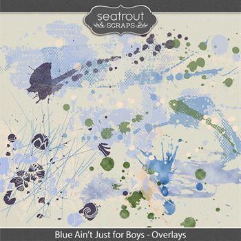 Blue Ain't Just For Boys Overlays Digital Art - Digital Scrapbooking Kits