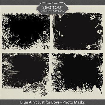 Blue Ain't Just For Boys Photo Masks Digital Art - Digital Scrapbooking Kits